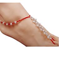 billige -Dame Ankel Perle Imiteret Perle Bohemisk Med perler Europæisk Mode Ankel Smykker Rød Til