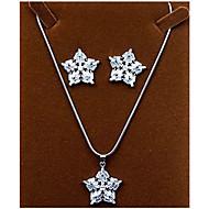 abordables -Mujer Zirconia Cúbica Conjunto de joyas Zirconio Copo de Nieve Incluir Plata Para Fiesta / Pendientes / Collare