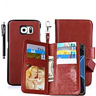 Недорогие Чехлы и кейсы для Galaxy S6 Edge Plus-Кейс для Назначение SSamsung Galaxy Бумажник для карт Кошелек со стендом Флип Магнитный Чехол Сплошной цвет Твердый Кожа PU для S8 Plus