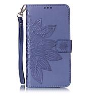 Недорогие Чехлы и кейсы для Galaxy S2-Кейс для Назначение SSamsung Galaxy S7 edge S7 Бумажник для карт Кошелек со стендом Флип С узором Рельефный Чехол Цветы Твердый Кожа PU