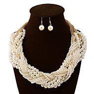 billige -Smykker 1 Halskæde 1 Par Øreringe Perle Lyserød Daglig Perle 1set Dame Gylden Wedding Gaver