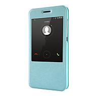 Для Кейс для Huawei со стендом / с окошком / Флип Кейс для Чехол Кейс для Один цвет Твердый Искусственная кожа Huawei Huawei Honor 4X