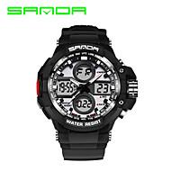 halpa -SANDA Miesten Urheilukello Armeijakello Smart Watch Muotikello Rannekello Digitaalinen Japanilainen kvartsi LED Kaksois-aikavyöhyke