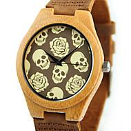 Heren Modieus horloge Horloge Hout Unieke creatieve horloge Kwarts houten Hout Band Schedel Vrijetijdsschoenen Bruin
