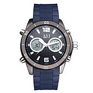 ASJ Herre Sportsklokke Moteklokke Digital Watch Japansk LCD Kompass Kalender Vannavvisende Dobbel Tidssone Selvlysende Stoppeklokke