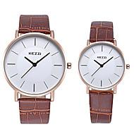 Недорогие Фирменные часы-KEZZI Для пары Наручные часы Имитация Алмазный / Cool Кожа Группа На каждый день / Мода Черный / Белый / Коричневый