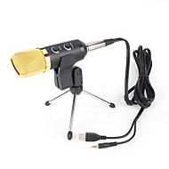 2017 nuevo de alta calidad micrófono con cable calor útil del condensador estéreo con clip de sujeción para charlar karaoke PC portátil