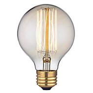 billige Glødelampe-1pc 40 W E26 / E27 G125 Varm hvit 2300 k Kontor / Bedrift / Dekorativ Glødende Vintage Edison lyspære 220-240 V