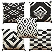 5 szt Bielizna Naturalne / ekologiczne Poszewka na poduszkę Pokrywa Pillow,Stały Textured Pled KwiatowyRetro Tradycyjny / Classic Wałek
