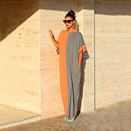 abordables -Femme Soirée Maxi Ample Courte Robe - Mosaïque, Bloc de Couleur Noir & Blanc Eté Noir Orange Gris L XL XXL Manches Courtes