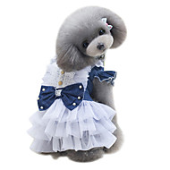 お買い得  -犬 ドレス 犬用ウェア ブリティッシュ ダークブルー ライトブルー デニム コスチューム ペット用 女性用 クラシック キュート ファッション