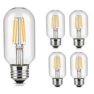 5kpl t45 4w e27 vintage led filamentti hehkulamppu lämmin / viileä valkoinen väri putkimainen tyyli retro edison lamppu ac220-240v