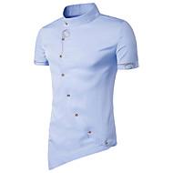 남성용 솔리드 스탠딩 카라 슬림 베이직 - 셔츠, 시누아즈리 면 / 짧은 소매