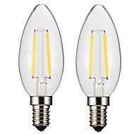 abordables Iluminación Profesional-ONDENN 2pcs 2W 150-200 lm E14 E12 Bombillas de Filamento LED CA35 2 leds COB Regulable Blanco Cálido AC 100-240 AC 110-130 V