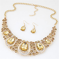 cheap Jewelry & Watches-Women's Crystal Jewelry Set - Crystal, Rhinestone Fashion, Euramerican Include Necklace / Earrings Rainbow / Light Yellow / Red For Wedding Party Special Occasion