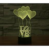 Недорогие Интеллектуальные огни-День Святого Валентина четыре любви 3D-огни красочный сенсорный визуальный трехмерный энергосберегающий градиент лампы