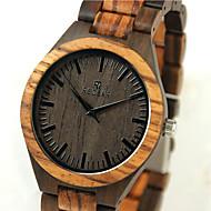 저렴한 -남성용 시계 나무 손목 시계 일본어 석영 일본 쿼츠 나무의 나무 밴드 멋진 베이지