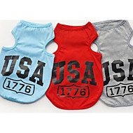 Dog Shirt / T-Shirt Vest Dog Clothes Letter & Number Gray Red Blue Cotton Costume For Pets Men's Women's Casual/Daily