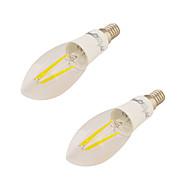 4W E14 Żarówki LED świeczki C37 4 Diody lED COB Ciepła biel 350lm 3000