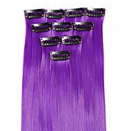 Недорогие Накладки и пряди-18 дюймы Синтетические волосы синтетика Наращивание волос Классика Прямой силуэт Аксессуары для волос На клипсе 1Pcs Классика Прямой
