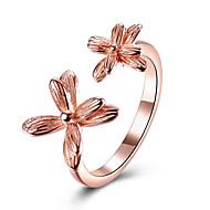 Жен. манжета кольцо Цветочный дизайн Цветы Цветочный принт Стерлинговое серебро Платиновое покрытие Позолоченное розовым золотом В форме