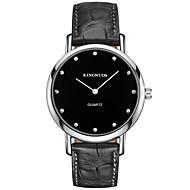 KINGNUOS 남성 패션 시계 손목 시계 캐쥬얼 시계 석영 가죽 밴드 멋진 캐쥬얼 창의적 블랙 브라운 블랙 브라운