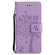 Недорогие Чехлы и кейсы для Galaxy S6 Edge Plus-Кейс для Назначение SSamsung Galaxy S8 Plus S8 Бумажник для карт Кошелек со стендом Флип С узором Рельефный Чехол Кот дерево Твердый Кожа