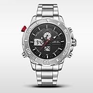 Недорогие Фирменные часы-WEIDE Муж. Спортивные часы Армейские часы Японский Цифровой Японский кварц 30 m Защита от влаги Будильник Календарь Нержавеющая сталь Группа Аналого-цифровые Черный - Белый Черный / LED / ЖК экран