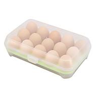 abordables Almacenamiento de alimentos y recipientes-1pcs 15 cocina en blanco nevera huevos almacenamiento caja titular preservación caja portátil plástico poner huevos caja hogar cocina