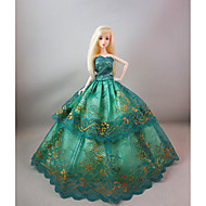 cheap Dolls & Stuffed Toys-Party / Evening Dresses For Barbie Doll Lace / Satin Dress For Girl's Doll Toy