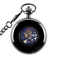 Heren Dames Skeleton horloge Zakhorloge mechanische horloges Automatisch opwindmechanisme Legering Band Zwart