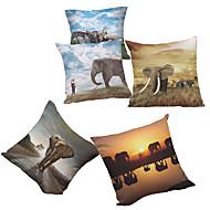 abordables Decoración del Hogar-5 PC Felpilla Natural/Orgánico Cobertor de Cojín Funda de almohada,Floral Sólido Con Texturas A cuadrosCasual Retro Tradicional/Clásico