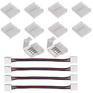 10pcs 5050 rgbのための4ピンledストリップコネクタledストリップライトと4個led 5050 rgbストリップライトコネクタ4導体10 mm幅のストリップをストリップジャンプ