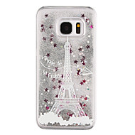 Недорогие Чехлы и кейсы для Galaxy S8-Кейс для Назначение SSamsung Galaxy S8 Plus S8 Движущаяся жидкость Прозрачный С узором Кейс на заднюю панель Сияние и блеск Эйфелева башня