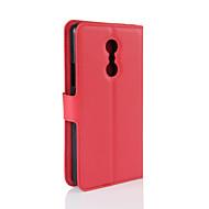 お買い得  携帯電話ケース-ケース 用途 Lenovo ウォレット / カードホルダー / スタンド付き フルボディーケース ソリッド ハード PUレザー のために Lenovo Zuk Z2 / Lenovo Vibe P1m / Lenovo Vibe K5