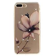 Недорогие Кейсы для iPhone 8 Plus-Кейс для Назначение Apple iPhone 8 / iPhone 8 Plus Стразы / IMD / Прозрачный Кейс на заднюю панель Цветы Мягкий ТПУ для iPhone 8 Pluss / iPhone 8 / iPhone 7 Plus