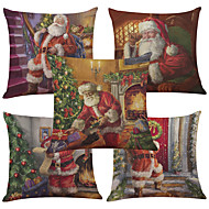 Set of 5 Santa Claus Pattern  Linen Pillowcase Sofa Home Decor Cushion Cover (18*18inch)