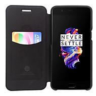 お買い得  携帯電話ケース-ケース 用途 OnePlus ワンプラス3 カードホルダー フリップ フルボディーケース 純色 ハード PUレザー のために One Plus 5 One Plus 3 One Plus 3T OnePlus