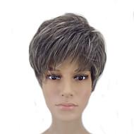 お買い得  -人工毛ウィッグ ストレート ピクシーカット 合成 グレイ かつら 女性用 ショート キャップレス グレイ hairjoy