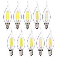 Χαμηλού Κόστους Λαμπτήρες LED με νήμα πυράκτωσης-BRELONG® 10pcs 4 W 400 lm E14 LED Λάμπες Πυράκτωσης C35 4 leds COB Θερμό Λευκό Άσπρο AC 220-240V