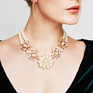 Жен. Мощность ожерелье Заявление ожерелья Жемчуг В форме цветка Жемчуг Винтаж Для вечеринки Мода Массивные украшения Бижутерия Назначение