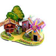 preiswerte Spielzeuge & Spiele-3D - Puzzle Holzpuzzle Windmühle Flugzeug Windmühle Berühmte Gebäude Haus Heimwerken Hartkartonpapier Klassisch Anime Zeichentrick Kinder