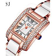 Недорогие Фирменные часы-Жен. Наручные часы Часы-браслет Японский Кварцевый Защита от влаги сплав Керамика Группа В полоску Блестящие Творчество Серебристый