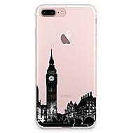 Недорогие Кейсы для iPhone 8 Plus-Кейс для Назначение Apple iPhone X iPhone 8 Прозрачный С узором Кейс на заднюю панель Вид на город Мягкий ТПУ для iPhone X iPhone 8 Pluss