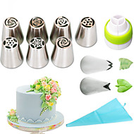 cheap Kitchen Tools-11pcs /set russian nozzles silicone bag three-color coupler piping tips rose flower leaf