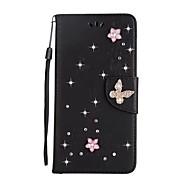 Недорогие Чехлы и кейсы для Galaxy S8 Plus-Кейс для Назначение SSamsung Galaxy S8 Plus S8 Бумажник для карт Кошелек Стразы со стендом Флип Чехол Сплошной цвет Бабочка Твердый Кожа