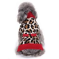 abordables Disfraces de Navidad para mascotas-Gato Perro Abrigos Suéteres Navidad Ropa para Perro Leopardo Leopardo Espándex Algodón / Mezcla de Lino Disfraz Para mascotas Fiesta