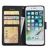 Custodia Per Apple iPhone 7 / iPhone 7 Plus A portafoglio / Porta-carte di credito / Con supporto Integrale Tinta unita Resistente pelle sintetica per iPhone 7 Plus / iPhone 7 / iPhone 6s Plus