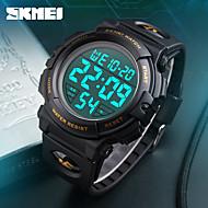 SKMEI Жен. Спортивные часы электронные часы Японский Цифровой Календарь Секундомер Защита от влаги Фосфоресцирующий PU ГруппаЧерный