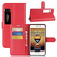 お買い得  携帯電話ケース-ケース 用途 Meizu カードホルダー ウォレット スタンド付き フリップ フルボディーケース 純色 ハード PUレザー のために Meizu Pro 7 Meizu Pro 7 Plus